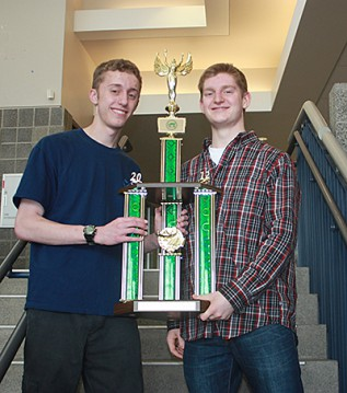 Mark Crossen (left) and Zander White were part of a Knowledge Bowl team at Central Valley High School that won the Washington state 4A championship in March. The competition consists of questions in a variety of fields, including math, literature, science, geology and more. Photo by Craig Howard.