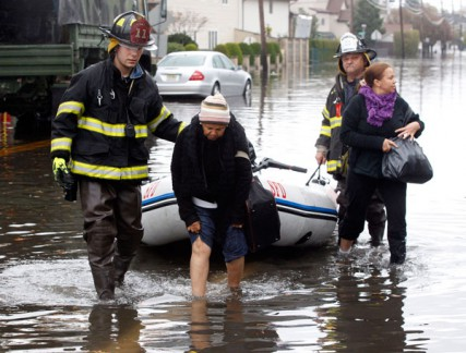 Residents are rescued in Moonachie and Little Ferry , NJ on 10/30/12.