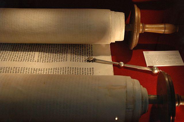 Torah and jad - exhibits in Big Synagogue Museum, Wlodawa - Poland.