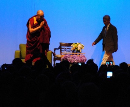 The Dalai Lama greets a crowd of 10,000 in Portland
