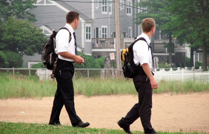 Mormon missionaries go door-to-door in Connecticut.