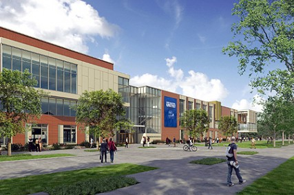 Construction begins this summer on the new University Center. Architect?s rendering.