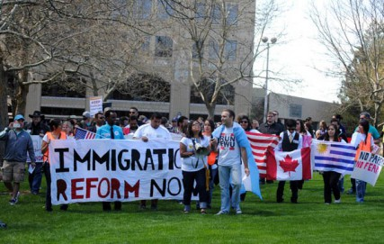 Residents rally for immigration reform on May Day in Spokane.
