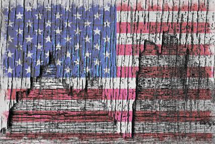 Old Glory, Patriotic Rustic Peeling American Flag.