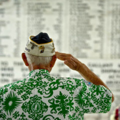 Retired U.S. Army Command Sgt. Maj. Sterling R. Cale, 90-year-old Pearl Harbor survivor, takes a moment in the shrine room of the USS Arizona Memorial to honor the 1,177 service members who lost their lives during the attack on the USS Arizona Dec. 7, 1941. Cale along with active duty military and civilian leaders gathered at the USS Arizona Memorial May 27, 2012, for the USS Arizona Memorial 50th anniversary commemoration ceremony in Honolulu, Hawaii. The memorial was dedicated on Memorial Day in 1962. Since its construction, the memorial has stood as a place to remember the tragedy, and honor the dead.