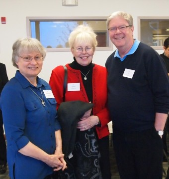 From left to right: Sister Donna Marie Chatraw, OSB, Prioress, Queen of Angels Monastery, Mt. Angel, Oregon; Sister Clarissa Goeckner, OSB, Prioress, Monastery of St. Gertrude, Cottonwood, Idaho; and Patrick Lee, S.J., Provincial for the Society of Jesus, Oregon Province.
