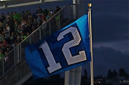 This photo was taken of the 12th Man flag during a Seattle Seahawks game. Photo by SeahawkScreamer/Wikipedia