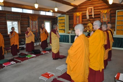 The Sravasti Abbey monastic community begins the formal opening ceremony/Contributed