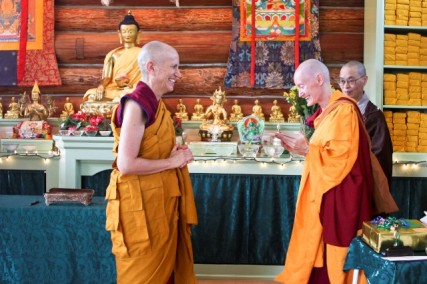 Ven. Samten makes an offering to her precious teacher and upadhyika./Courtesy Sravasti Abbey