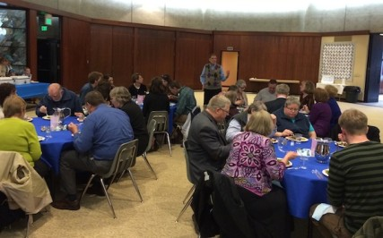 Diners participate in Faith Feast at Temple Beth Shalom/Tracy Simmons - SpokaneFAVS