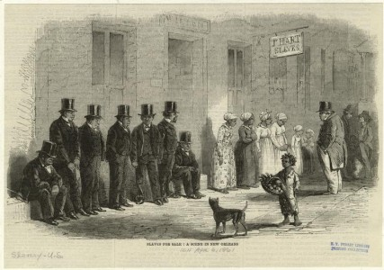 "1861: ""Slaves for sale, a scene in New Orleans."" Harper's Weekly"