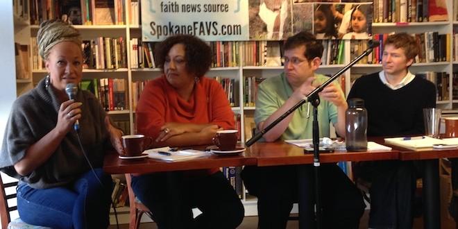 Rachel Dolezal (left) speaks at a SpokaneFAVS Coffee Talk in October/Contributed