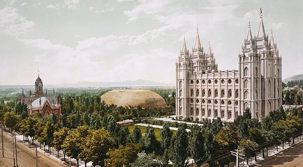 Temple Square, Salt Lake City, 1899 retouched