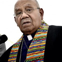 (RNS2-oct22) Bishop Melvin Talbert joined 13 other United Methodist bishops at a gathering on May 4 outside the 2012 United Methodist General Conference in Tampa, Florida, where they showed their support for clergy in the denomination who choose to officiate at religious weddings of same-sex couples. Doing so is a violation of church rules, but Talbert said he preferred Biblical obedience even if it meant ecclesiasical disobedience. For use with RNS-METHODIST-GAYS, transmitted on October 22, 2013, Photo by Paul Jeffrey/courteys UMNS