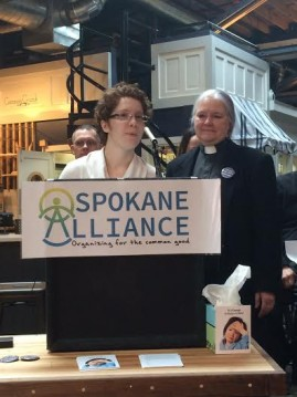At a Spokane Alliance press conference, members address sick, safe and family leave/Blaine Stum - SpokaneFAVS