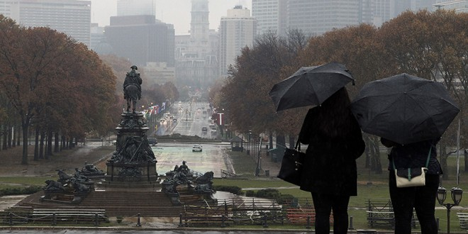 (RNS1-april16) A general view of the Benjamin Franklin Parkway is seen from the steps of the Philadelphia Museum of Art looking towards City Hall in Philadelphia, Pennsylvania, on November 17, 2014.  As part of the events surrounding the World Meeting of Families - Philadelphia 2015  set to be held September 22-27, 2015, Pope Francis will celebrate a Papal Mass on the parkway that is expected to draw over one million worshippers according to Donna Crilley Farrell, Executive Director, World Meeting of Families - Philadelphia 2015. Photo courtesy of REUTERS/Tom Mihalek