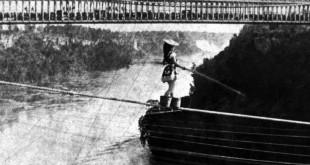 Maria Spelterini crossing Niagara Falls on July 4, 1876 Niagara Falls Public Library