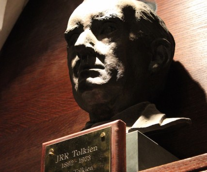 Bust of Tolkien in the chapel of Exeter College, Oxford/Flickr photo by Julian Nitzsche