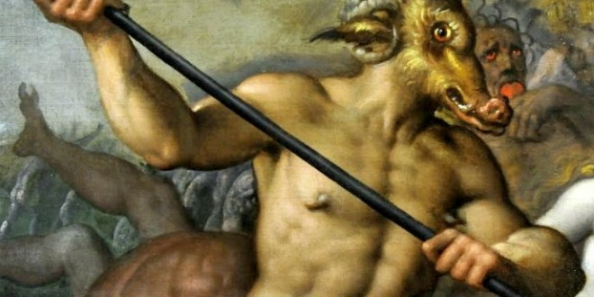 Horns of a goat and a ram, goat's fur and ears, nose and canines of a pig, a typical depiction of the Devil in Christian art. The goat, ram and pig are consistently associated with the Devil.[15] Detail of a 16th-century painting by Jacob de Backer in the National Museum in Warsaw.