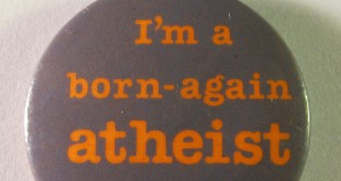 Atheist pin/Flickr photo by Danny Birchall