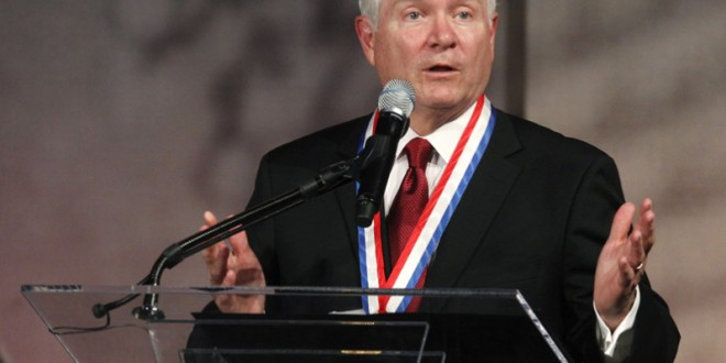 Former U.S. Defense Secretary Robert Gates speaks after being awarded the Liberty Medal at the National Constitution Center in Philadelphia, Pennsylvania, on September 22, 2011. Photo courtesy of REUTERS/Tim Shaffer  *Editors: This photo may only be republished with RNS-BOY-SCOUTS, originally transmitted on May 28, 2015.