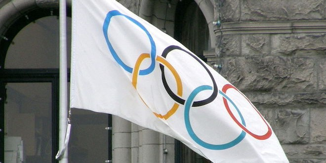 Olympic flag photo by Makaristos/Wikipedia