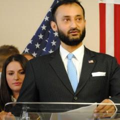 Arsalan Bukhari, executive director of CAIR-WA speaks against anti-Islam speech/Tracy Simmons - SpokaneFAVS