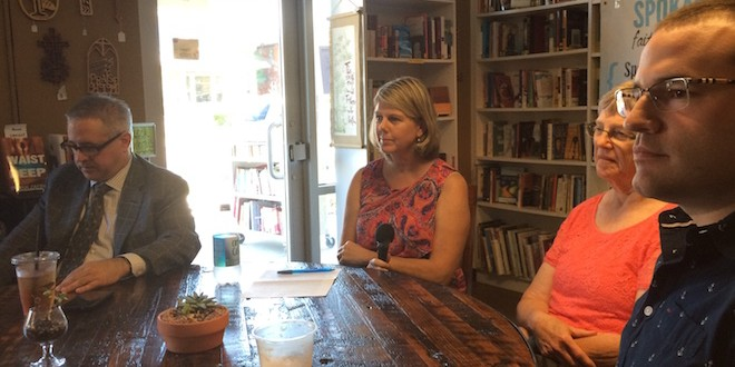 Coffee Talk panelists speak at the July Coffee Talk/Tracy Simmons - SpokaneFAVS