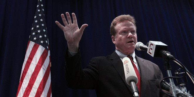 U.S. Senator Jim Webb talks to reporters during his news conference at the U.S. embassy in Yangon, on April 11, 2012. Photo courtesy of REUTERS/Soe Zeya Tun *Editors: This photo may only be republished with RNS-WEBB-FAITH, originally transmitted on July 6, 2015.