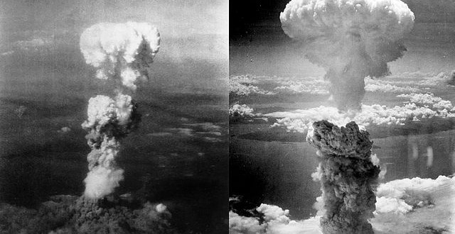 At the time this photo was made, smoke billowed 20,000 feet above Hiroshima while smoke from the burst of the first atomic bomb had spread over 10,000 feet on the target at the base of the rising column. Six planes of the 509th Composite Group, participated in this mission; one to carry the bomb Enola Gay, one to take scientific measurements of the blast The Great Artiste, the third to take photographs Necessary Evil the others flew approximately an hour ahead to act as weather scouts, 08/06/1945. Bad weather would disqualify a target as the scientists insisted on a visual delivery, the primary target was Hiroshima, secondary was Kokura, and tertiary was Nagasaki. Right picture : Atomic bombing of Nagasaki on August 9, 1945, taken by Charles Levy.