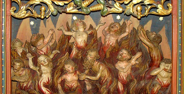 Image of souls being purified by flames in purgatory. Wikipedia photo by Peter Schmelzle