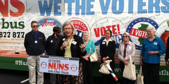 Sr. Simone Campbell speaks on her Nuns on the Bus Tour/NETWORK photo