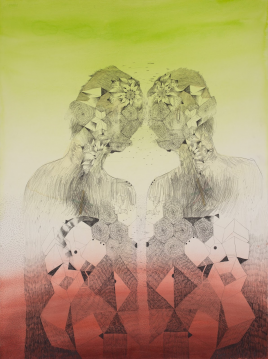 The Twins, graphite and ink on paper, 30 x 20 inches, 2015, Courtesy G. Gibson Gallery