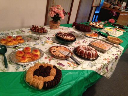 Many desserts provided by volunteers from Unity South/Emily Geddes - SpokaneFAVS