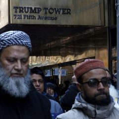 Muslims pray as they take part in a protest against presidential candidate Donald Trump outside of his office in Manhattan, New York December 20, 2015. REUTERS/Eduardo Munoz/File photo