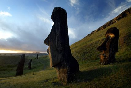 """A view of """"Moai"""" statues in Rano Raraku volcano, on Easter Island, 4,000 km (2486 miles) west of Santiago, in this photo taken October 31, 2003. REUTERS/Carlos Barria"""