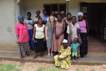 Samantha Briggs with a women's group in Uganda/Contributed