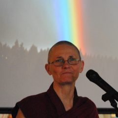 Ven. Thubten Chonyi speaks at the Interfaith Pride Service/Tracy Simmons - SpokaneFAVS