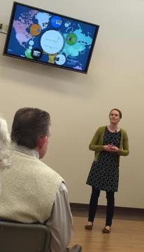 Erin Colladay speaks in Hamblen Park Presbyterian's Skylight Room about World Relief Spokane/Lindsey Treffry - SpokaneFAVS
