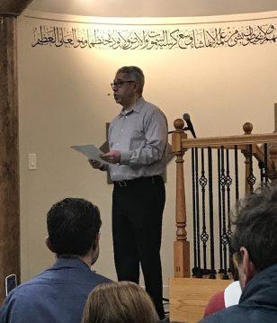 Mamdouh El-Aarag welcomes guests to the Spokane Islamic Center/Emily Geddes - SpokaneFāVS